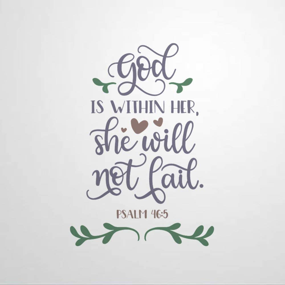 EricauBird God Within Her She Will Not Fail Wall Sticker, Home Wall Decal, Decor for Bedroom Kitchen Car Laptop, Nursery Wall Decor, Removable Vinyl Sticker for Anniversary Holiday Housewarming