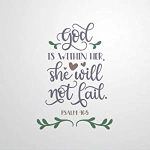 God Within Her She Will Not Fail Wall Decals Bible Verse Peel and Stick Wall Stickers for Bedroom Living Room Wall Art Home Decor Decal Sticker