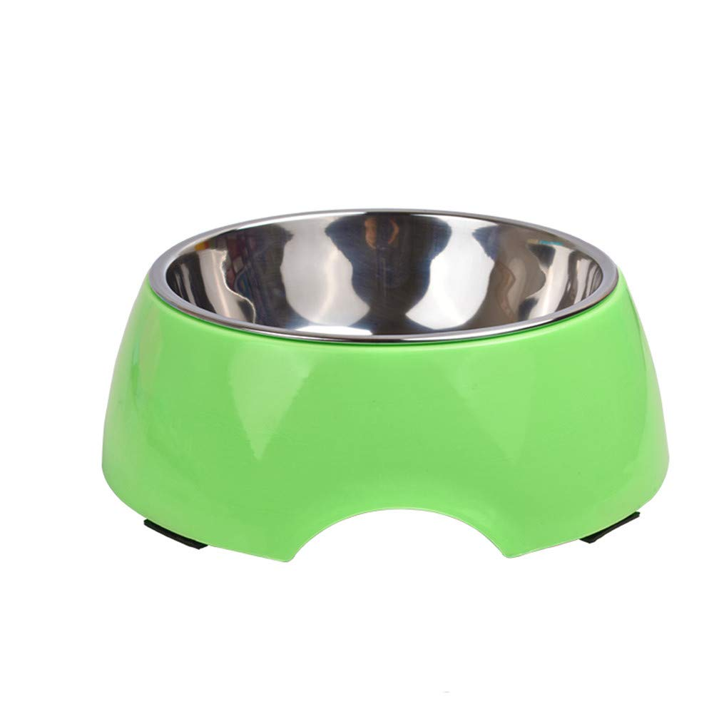 GREEN-M WU-pet supplies Dog Bowl Dog Pot cat Bowl Dog Food Bowl Double Bowl Drinking Fountains pet Supplies, Green-M