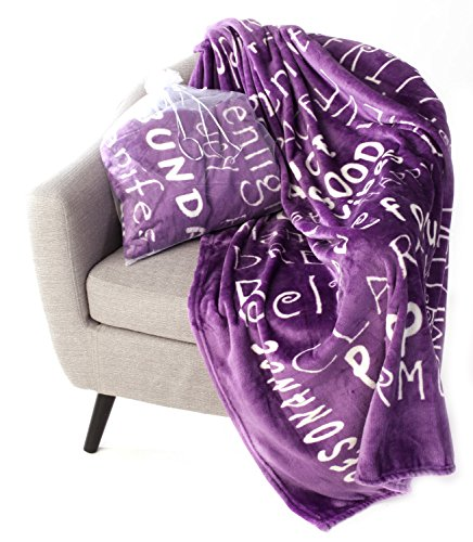 BlankieGram Law of Attraction Throw Blanket with Positive & Happy Thoughts | The Perfect Good Vibes Gift for Friends & Family (Purple)