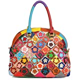 Yaluxe Women's Spring Multicolor Flower Stripe Genuine Lambskin Leather Handbag Cross Body Shoulder Bag