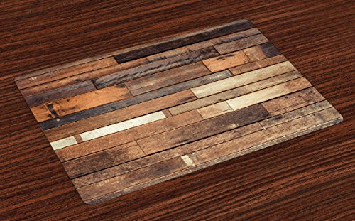 Ambesonne Wood Print Placemats Set of 4, Rustic Floor Planks Print Grungy Look Farm House Country Style Walnut Oak Grain Image, Washable Fabric Placemats for Dining Room Kitchen Table Decor, Brown