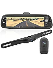 "Dash Cam Rearview Mirror Monitor - Dual Front Rear Slim Bar w/ Backup Camera 7.4"" LCD Display Screen Waterproof IP-69 DVR Video Recording w/ Night Vision Illumination - Pyle PLCMDVR77.5"