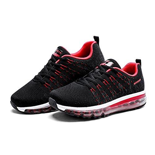 rosso Waliking Running Sneakers Uomo Da Ginnastica Basse Sportive Donna Respirabile All'aperto Fexkean Scarpe Nero TOxPTq