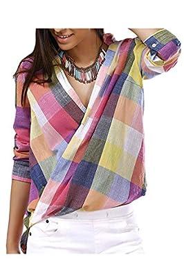 VamJump Women Fashion V Neck Long Sleeve Linen Blouse Dress Plaid Tops Shirts