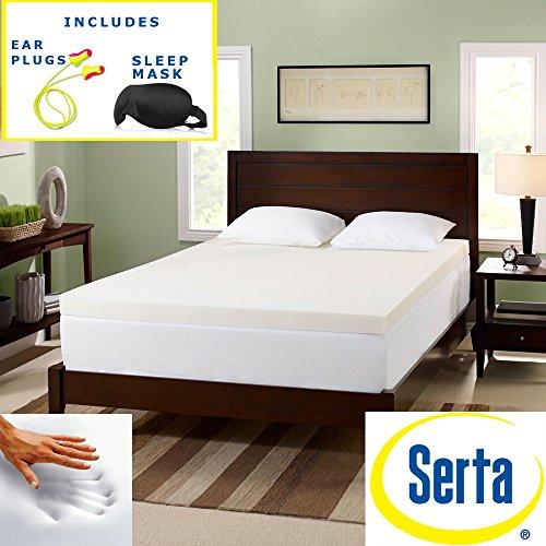 Serta 3-inch Premium Memory Foam Mattress Topper Sleep Mask & Comfortable Pair of Corded Earplugs Included (QUEEN)