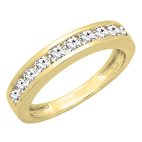 0.75 Ct Yellow Diamond (IGI CERTIFIED 0.75 Carat (ctw) 14K Yellow Gold Round Cut Diamond Wedding Band 3/4 CT (Size 10))