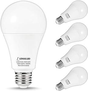 LOHAS 150W-200Watt Equivalent LED Light Bulbs, A21 LED 23W Bulbs, Soft White 3000K LED Lights 2500LM High Lumen, E26 Base Super Bright Incandescent Bulb Replace for Home Lighting, Non-Dimmable, 4Pack