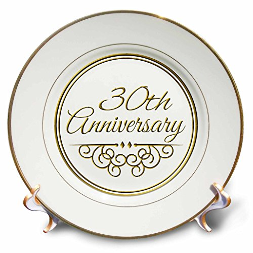 Anniversary Decorative Plate - 3dRose cp_154472_1 30th Gold Text for Celebrating Wedding Anniversaries 30 Years Married Together Porcelain Plate, 8-Inch