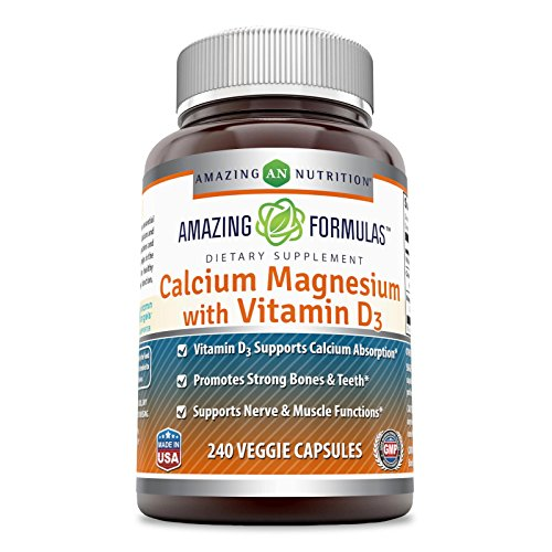 Amazing Formulas - Calcium Magnesium with Vitamin D3-500 Milligrams - 240 Veggie Capsules - Promotes Stronger Bones and Teeth - Supports Muscle and Nerve Function*