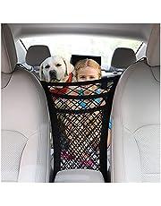 3-Layer Car Mesh Organizer, Seat Back Net Bag, Barrier of Backseat Pet Kids, Cargo Tissue Purse Holder, Driver Storage Netting Pouch, Backseat Storage Net Bag