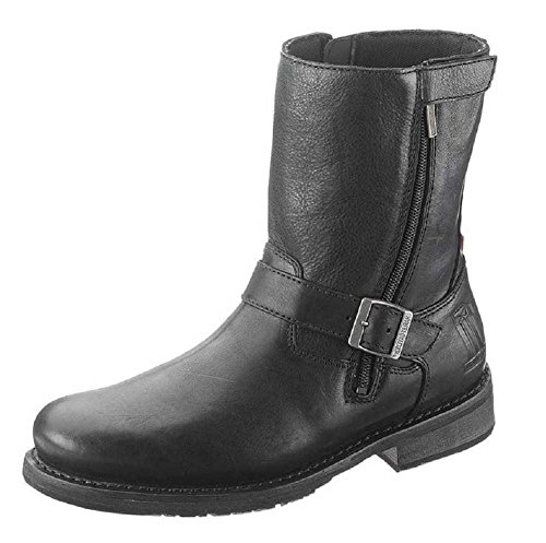 Harley Davidson Karl Black Leather Biker Boots Rock Zip Buckle Motorbike Qa8uMHFHS