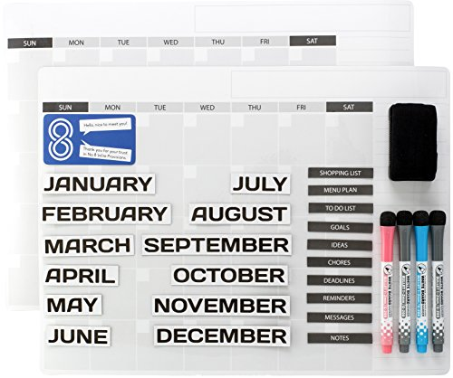 """Magnetic Dry Erase Board Calendars: Whiteboard 12 Month Calendar Organizer & Planner for Fridge or Office Wall - Plan Weekly Schedule & Family Chores - With Two 16""""x12"""" Boards, Markers & Task Magnets"""