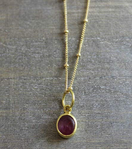 Pink Tourmaline Gold Filled Necklace 18 inches