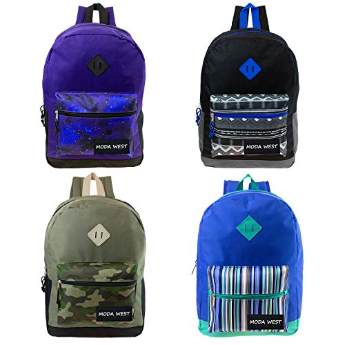 17 Inch Wholesale Backpack in 4 assorted prints - Bulk Case of 24 Bookbags ()