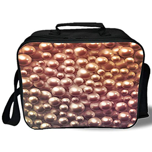 Insulated Lunch Bag,Pearls,Various Size Mixed Rare Nacreous Pearls Gemstone Oyster Concept Golden Ombre Pattern,Brown,for Work/School/Picnic, ()