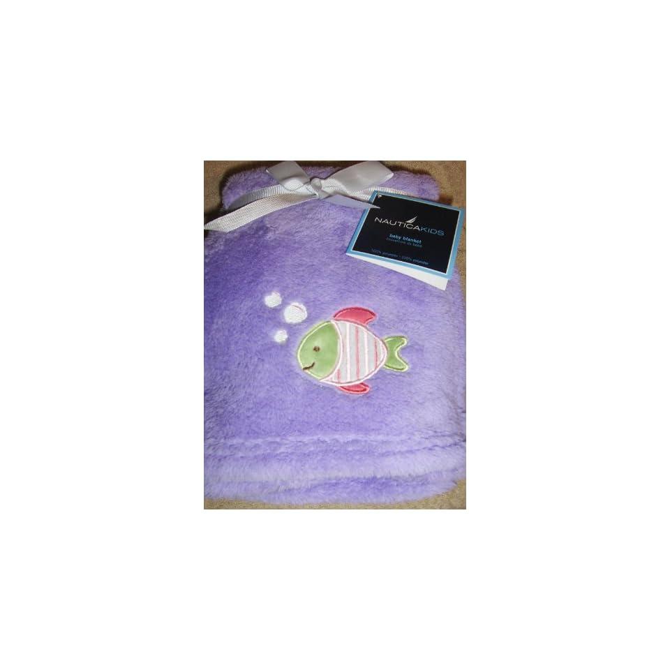 NAUTICA Kids Baby Girl Soft Plush Blanket Purple with Fish Applique