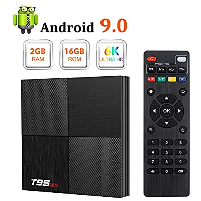 Android 9.0 TV Box, T95 Mini Android Box 2GB RAM 16GB ROM H6 Quadcore Smart TV Box 2.4GHz WiFi 3D 6K Streaming Media Player