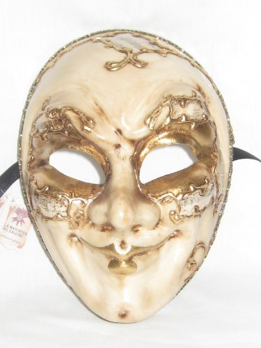 Creme Music Joker Sinfonia Venetian Masquerade Ball (Venetian Mask With Gold Trim)
