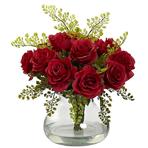 Nearly Natural 1366-RD Rose and Maiden Hair Arrangement with Vase, (Red Rectangular Vases)