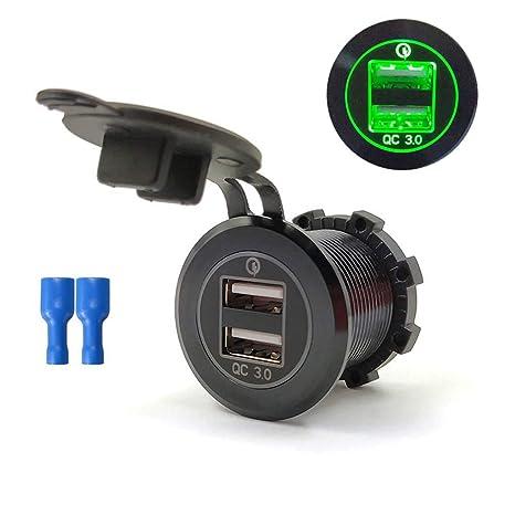 Keepart - Cargador USB doble para coche, 12 V, 24 V, QC 3.0 ...