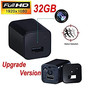 Covert USB Wall Charger Hidden Spy Camera, Motion Detection, 32GB Memory Card Included (avoid built in memory issues) Nanny Cam, Batteryless HD 1080P Video Recorder with Audio, Latest Updated Version