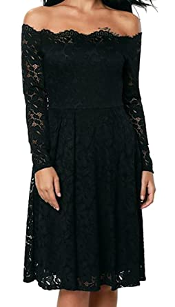 1f6c88c457f Cruiize Women s Long Sleeve Lace Trim Pleated Off Shoulder Midi Dress Black  Small