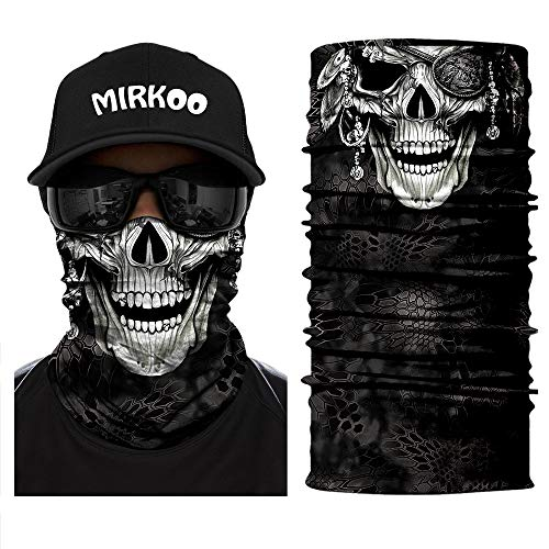 MIRKOO 3D Premium Breathable Seamless Tube Skull Half Face Mask, Windproof Dust-proof UV Protection Bicycle Bike Motorcycle Face Mask for Cycling Hiking Camping Climbing Fishing Motorcycling(SFM-683)