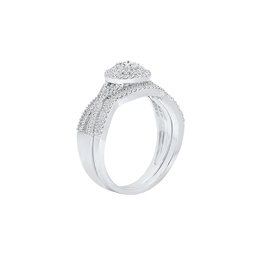 Dazzlingrock Collection 0.35 Carat (ctw) 10K Gold Round White Diamond Ladies Swirl Twisted Engagement Ring Set 1/3 CT