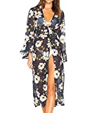 Bestyou Women's Printed Coverups for Bathing Suits Long Kimono Cover Up Cardigan Swimwear Maxi Chiffon Beach Dresses (Floral Printed E)