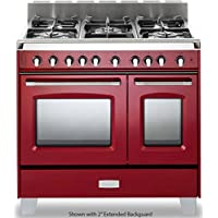 Verona VCLFSGG365DR 36 Classic Gas Range with 2.4 cu. ft. & 1.5 cu. ft. Convection Ovens 5 Sealed Gas Burners Cast-Iron Grates EZ Clean Porcelain Oven Surface and Full-Width Storage Comp