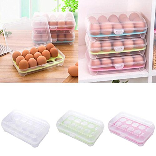 Besde egg container for refrigerator 15 Eggs Airtight Storage container plastic Box (pink)
