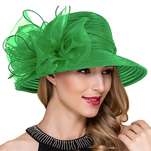 - Lady Church Derby Dress Cloche Hat Fascinator Floral Tea Party Wedding Bucket Hat S051 (Green)