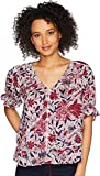 Lucky Brand Women's Floral Puff Sleeve Top, Raspberry Multi, L