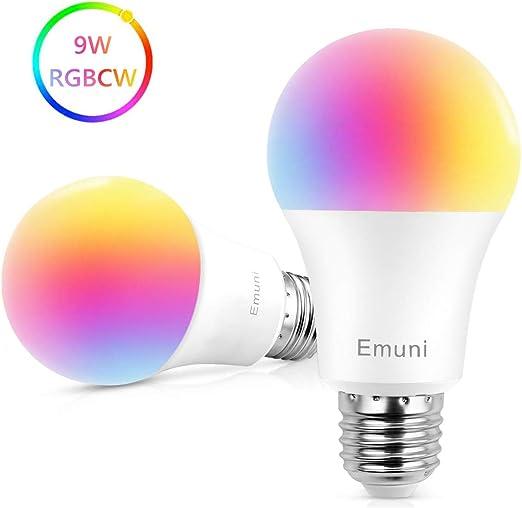 Emuni Bombilla LED Inteligente E27, Bombilla WiFi 9W 1000Lm Luz ...