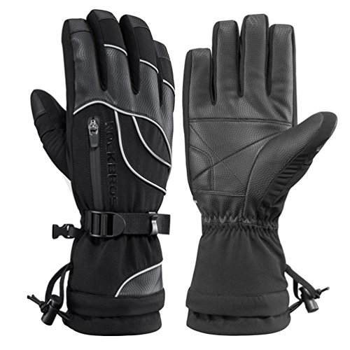 RockBros Waterproof Winter Ski Gloves Warm Snowboarding Snowmobile Men's Gloves Thermal Gear