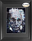 Albert Einstein Framed 3D Lenticular Poster - 14.5x18.5  - Unbelievable Life Like 3D Art Pictures, Lenticular Posters, Cool Art Deco, Unique Wall Art Decor, With Dozens to Choose From!
