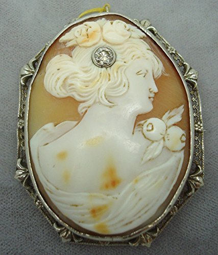 14K Gold Genuine Natural Shell Cameo Filigree Pin with .20ct Diamond (#1895)