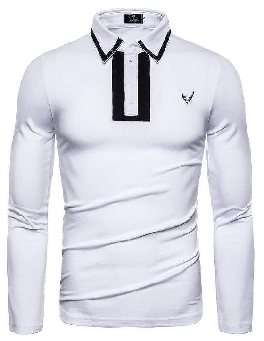 GRMO Men Contrast T-Shirt Casual Long Sleeve Lapel Slim Embroidery T-Shirt Tee