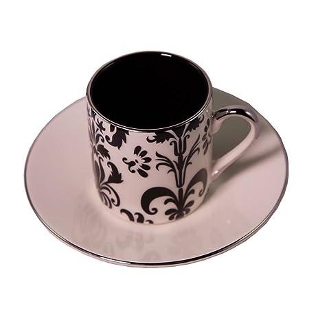 Amazon.com | Yedi Nouveau Floral Turkish Coffee Cup Set (Black&White ...