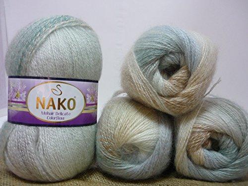 40% Mohair 60% Acrylic Yarn Mohair Angora Wool Yarn NAKO Mohair Delicate Colorflow Thread Crochet Hand Knitting Turkish Yarn Lot of 4skn 400gr Color Gradient 28093