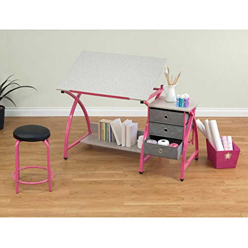 Studio Designs Pink Comet Drafting and Hobb Craft Center Table with Stool by Studio Designs