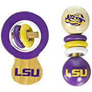 MasterPieces NCAA Louisiana State LSU Tigers Real Wood Baby Rattles (2-Pack)