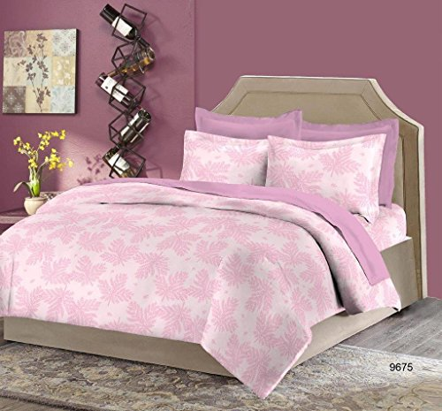 Bombay Dyeing Moon Mist 210 TC Cotton Double Bedsheet with 2 Pillow Covers – Pink