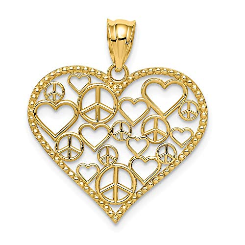 - 14k Yellow Gold Hearts Peace Signs In Heart Pendant Charm Necklace Love Multiple Fine Jewelry Gifts For Women For Her