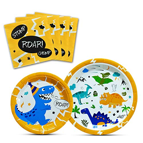 WERNNSAI Dinosaur Party Supplies - Dinosaur Tableware Set for Boys Birthday Baby Shower Dinner Dessert Plates Napkins Serves 16 Guests 48 Pieces Birthday Boy Dinner Plate