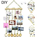 ZALALOVA DIY Hanging Photo Display with 25 Piece Wooden Clips 2 Hooks