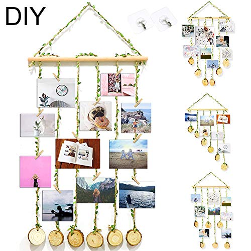 ZALALOVA Hanging Photo Display, DIY Pictures Organizer with 25Pcs Wooden Clips 2 Hooks and Adjustable Hemp Rope Home Party Decor Photo Frame for Hanging Photos Artwork Notes