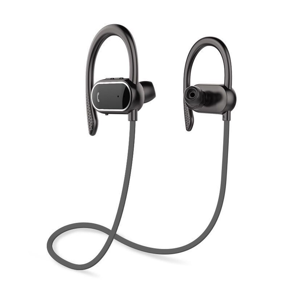 FEYAS S9 Intelligent Pedometer Bluetooth Headphones,Wireless Sports Earphones/Mic IPX7 Waterproof HD Stereo Sweatproof Earbuds for Gym Running Workout 8 Hour Battery Noise Cancelling Headsets (Black) by FEYAS