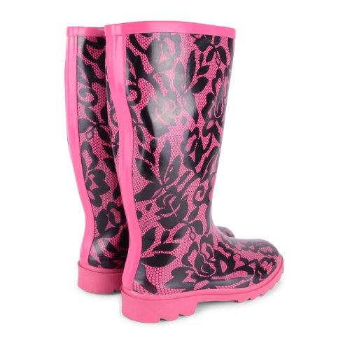New Womens Ladies Festival Lluvia Nieve Botas Tamaño UK 345678de montar de invierno botas de agua Fuchsia Floral